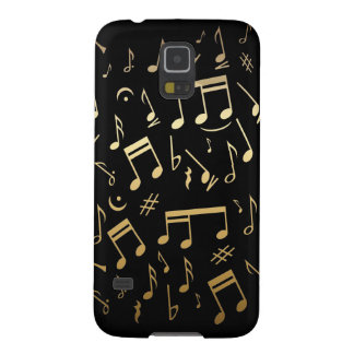 Golden musical notes on Black background Galaxy S5 Cases