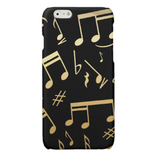 Golden musical notes on Black background Glossy iPhone 6 Case