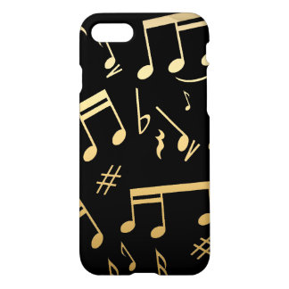 Golden musical notes on Black background iPhone 8/7 Case