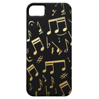 Golden musical notes on Black background iPhone SE/5/5s Case