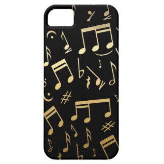 Golden musical notes on Black background iPhone SE/5/5s Case