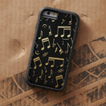 Golden Musical Notes on Black Background iPhone 6 Case