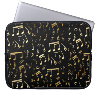 Golden musical notes on Black background Laptop Sleeve