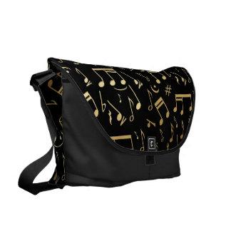 Golden musical notes on Black background Messenger Bag