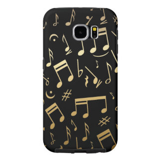 Golden musical notes on Black background Samsung Galaxy S6 Cases