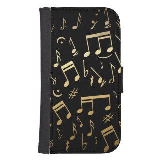 Golden Musical Notes on Black Background Samsung S4 Wallet Case
