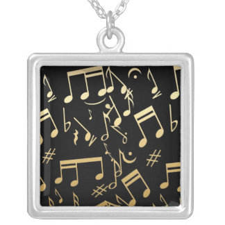 Golden musical notes on Black background Silver Plated Necklace