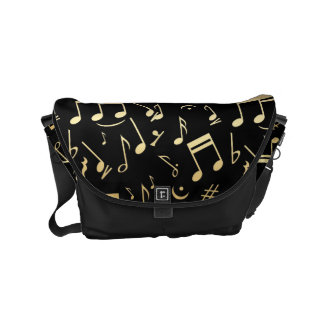 Golden musical notes on Black background Small Messenger Bag
