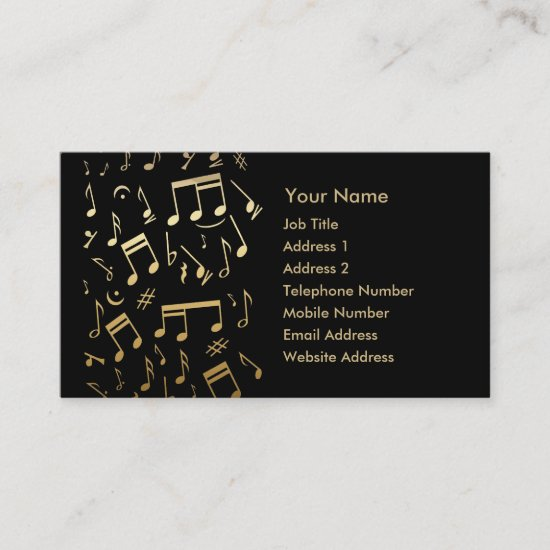 Golden musical notes on Black Business Card