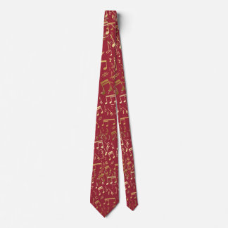 Golden Musical Notes on red Tie