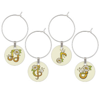 Golden musical notes wine glass charm