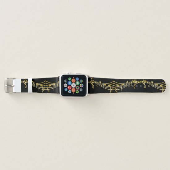 Golden Musical Staff on Black Apple Watch Band