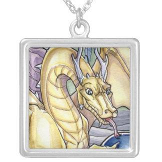 Golden Mystic Dragon Square Pendant Necklace