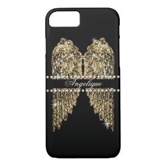 Golden n Diamond Jewel Look Angel Wings Bling iPhone 8/7 Case