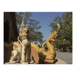 Golden Naga and White Dog ~ Chiang Mai, Thailand Poster
