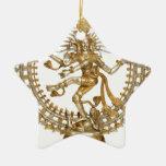 GOLDEN NATRAJ Double-Sided STAR CERAMIC CHRISTMAS ORNAMENT