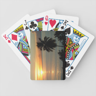 Golden Nautical Sunset Bicycle Playing Cards