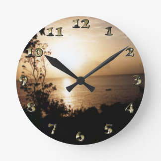 Golden Nautical Sunset Round Clock