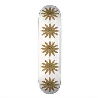 Golden Nautical Wheel Flower Skateboard