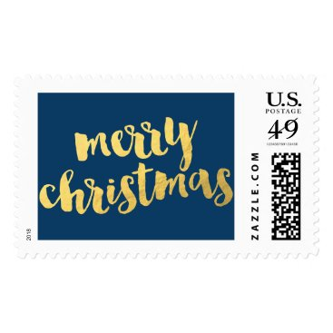 Christmas Themed Golden Navy Merry Christmas Holiday Postage Stamps