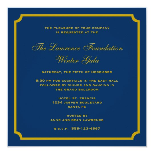 Golden Navy Square Frame Corporate Holiday Formal Invitation
