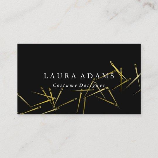 Golden Needles Elegant Fashion Designer Business Card Zazzle