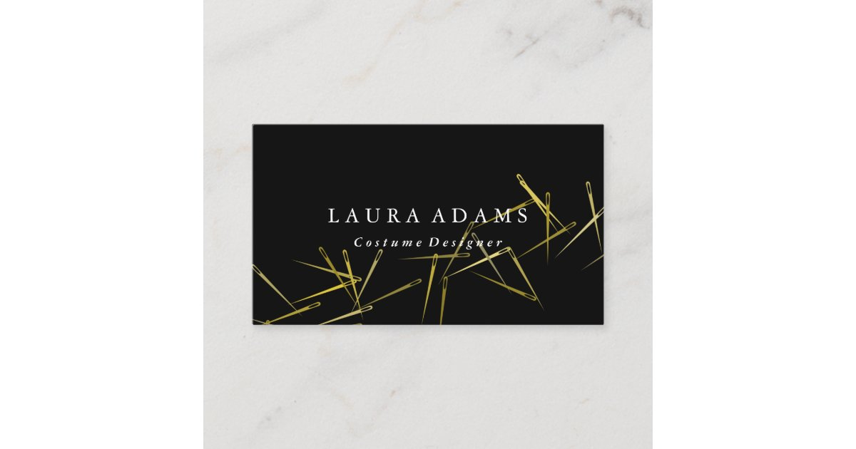 golden needles elegant fashion designer business card zazzlecom - Fashion Designer Business Card