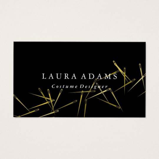 Golden Needles Elegant Fashion Designer Business Card Zazzle Com