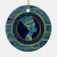 Golden Nefertiti on blue marble stone Ceramic Ornament