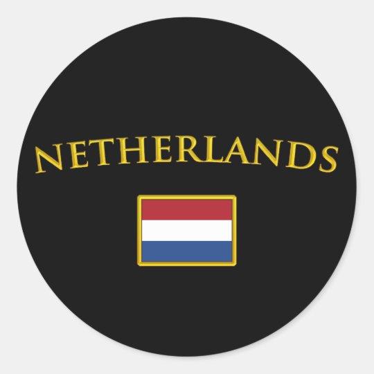 Golden Netherlands Classic Round Sticker