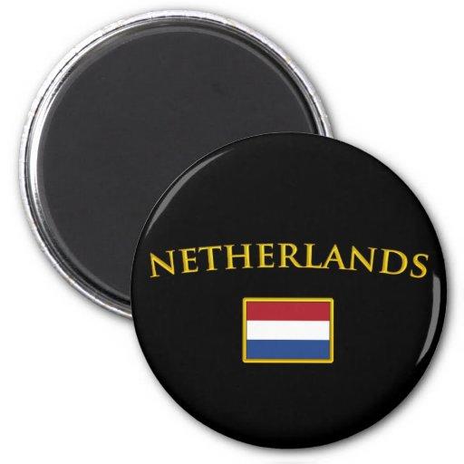 Golden Netherlands Refrigerator Magnets