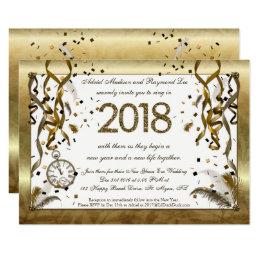 Golden New Years Eve Wedding Invitations Golden New Years Eve Wedding  Invitations
