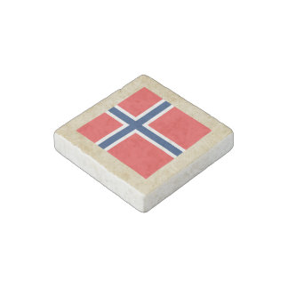Golden Norway Flag Stone Magnet