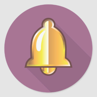 Golden Notification Bell Icon Classic Round Sticker
