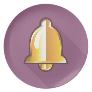 Golden Notification Bell Icon Dinner Plate