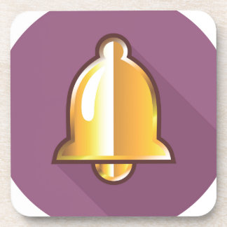 Golden Notification Bell Icon Drink Coaster