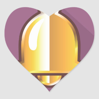 Golden Notification Bell Icon Heart Sticker