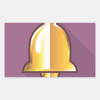 Golden Notification Bell Icon Rectangular Sticker