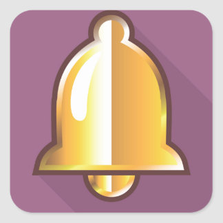 Golden Notification Bell Icon Square Sticker