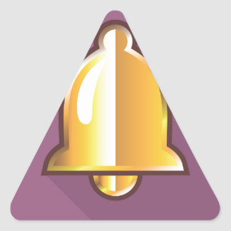 Golden Notification Bell Icon Triangle Sticker