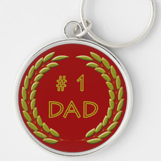 Golden Number 1 Dad Metal Keychain