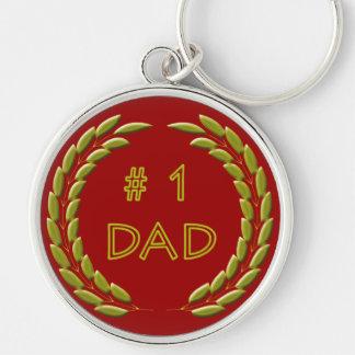 Golden Number 1 Dad Metal Keychain