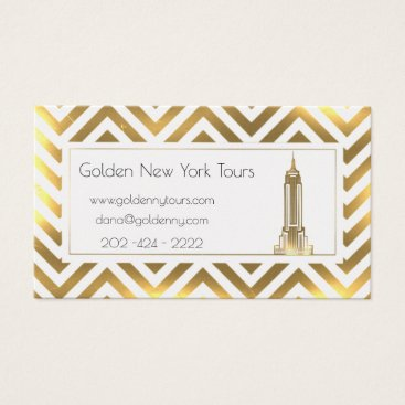 Professional Business golden NYC  Tours-chevron pattern Business Card