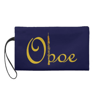 Golden Oboe Script Wristlet
