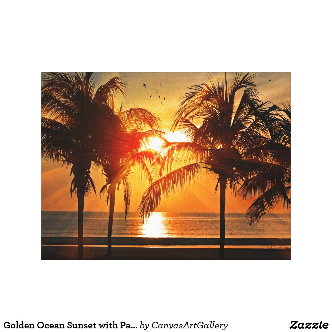 Golden Ocean Sunset with Palm Trees