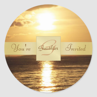 Golden Ocean Sunset You're Invited Party Sticker