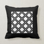 Golden, Off White and Black Squares Framed Throw Pillow