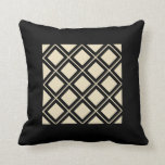 Golden, Off White and Black Squares Frames Throw Pillow