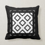 Golden, Off White and Black Squares II Throw Pillow