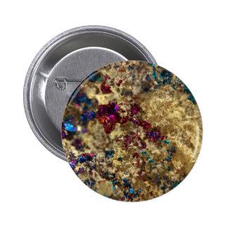 Golden Oil Slick Quartz Pinback Button